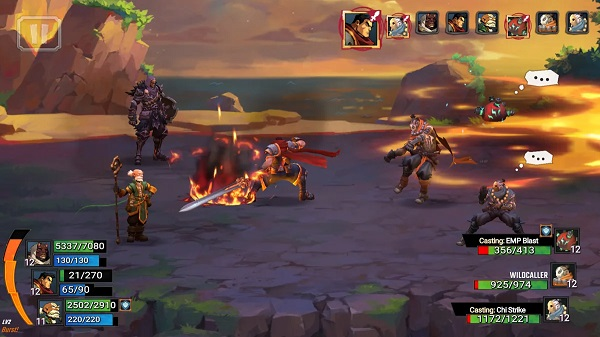 Battle Chasers: Nightwar gameplay footage of a battle