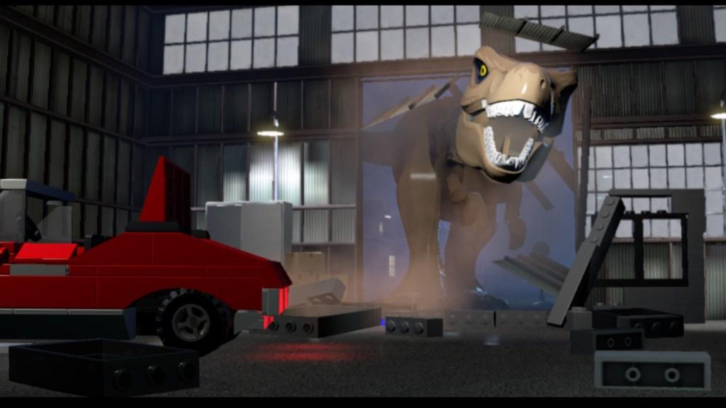 LEGO Jurassic World Trex busting through warehouse doors