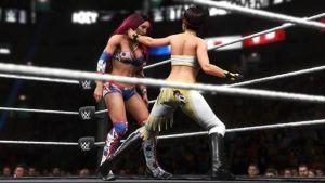 WWE 2K20 Women's Evolution showing two women wrestling in the square ring possibly during MyCareer mode