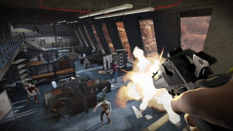 Arizona Sunshine The Damned DLC gameplay showing a gun firing at a room full of zombies