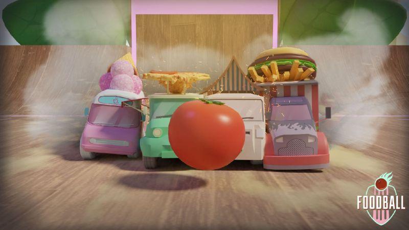 FoodBall food trucks behind a tomato