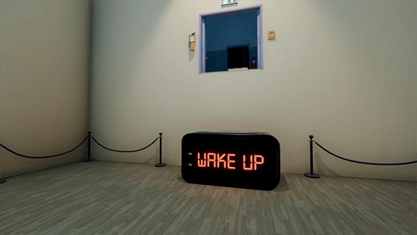 SUPERLIMINAL gameplay showing large alarm clock saying Wake Up