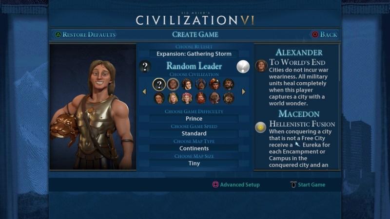 Civilization VI gameplay - Choose Leader screen