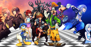 Kingdom Hearts header showing numerous characters from within the game but not the Re Mind DLC