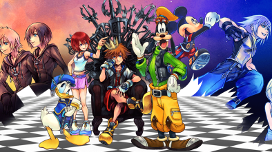 Kingdom Hearts header showing numerous characters from within the game