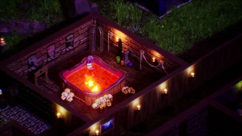 Hotel Afterlife gameplay with guest in hot tub