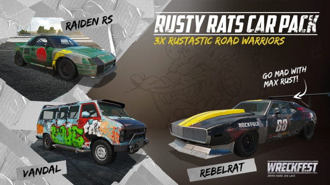 Wreckfest Rusty Rats Car Pack contents