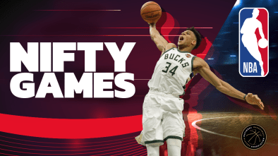 Nifty Games and NBA logos with Basketball star inbetween going for a dunk