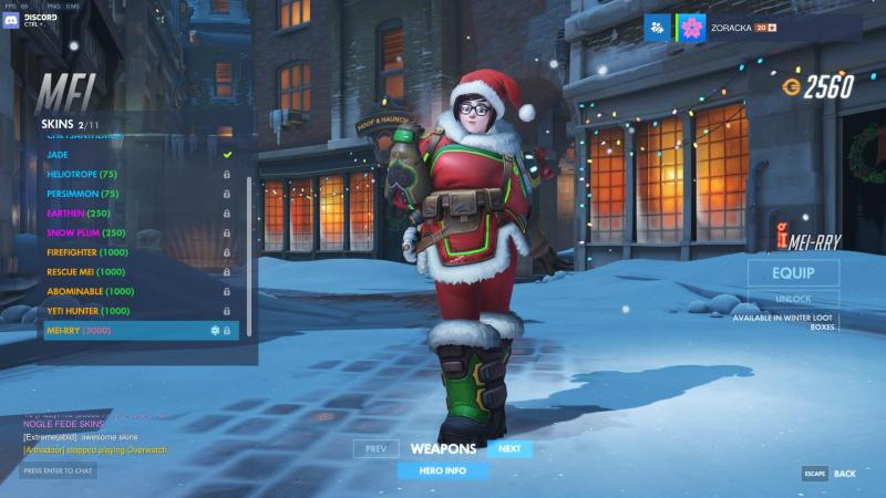 Mei from Overwatch with Christmas skin