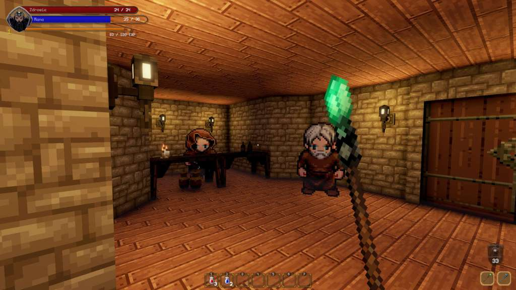 Pangeon gameplay showing player in a room holding a staff facing two other characters wearing robes