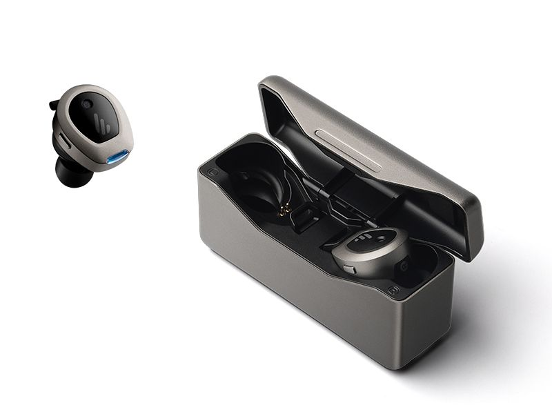 Edifier TWS NB true wireless earbuds with one inside and one outside the charging case