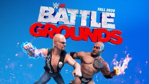 WWE 2K Battlegrounds logo with Stone Cold Steve Austin and the Rock facing off