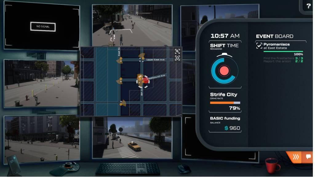City Eye gameplay screenshot showing surveillance