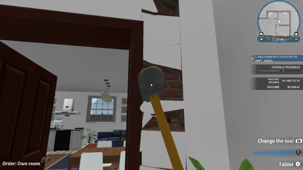 House Flipper smashing walls with a sledgehammer gameplay