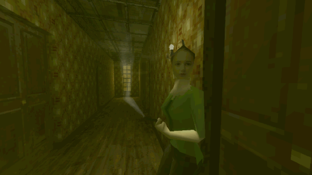 Paratopic gameplay with woman in a dark corridor