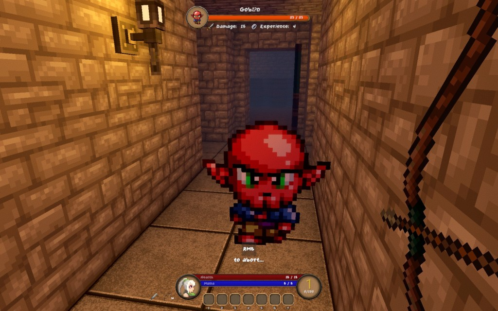 Pangeon gameplay, facing a small red imp in a corridor