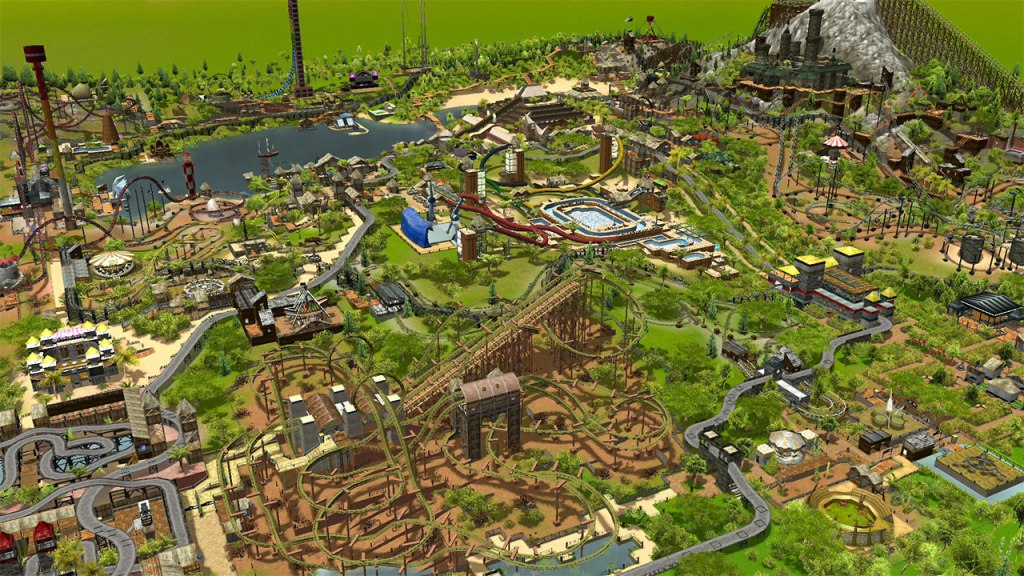 RollerCoaster Tycoon 3: Complete Edition theme park in the sunshine