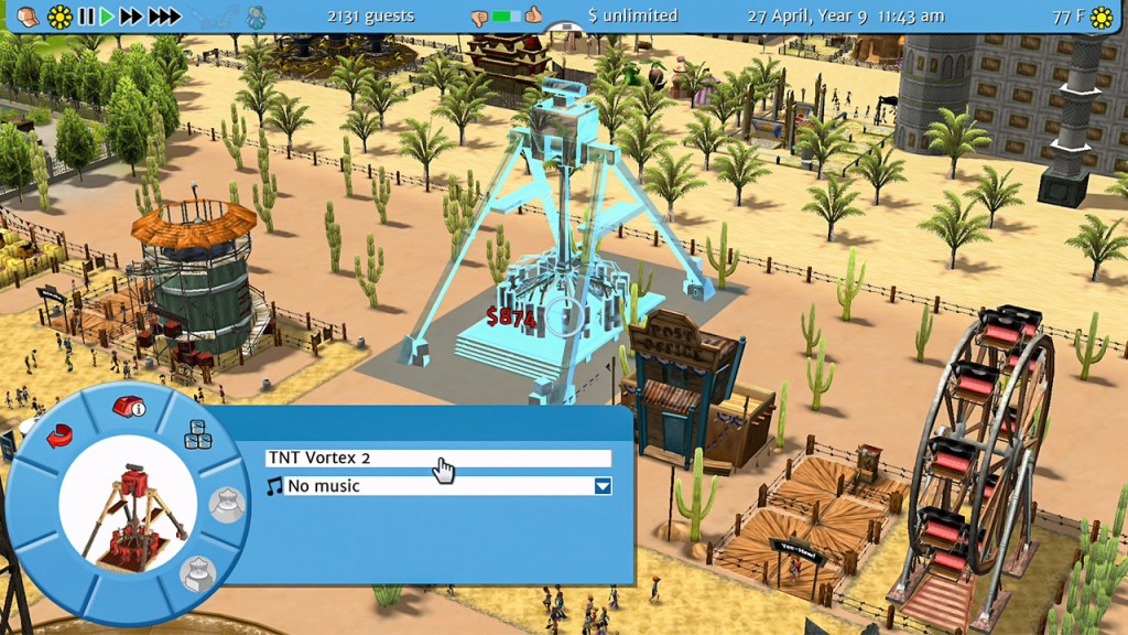 RollerCoaster Tycoon 3: Complete Edition constructing a thempark ride
