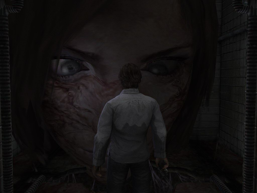 The subject of Henry's voyeurism stares right back at him in Silent Hill 4.