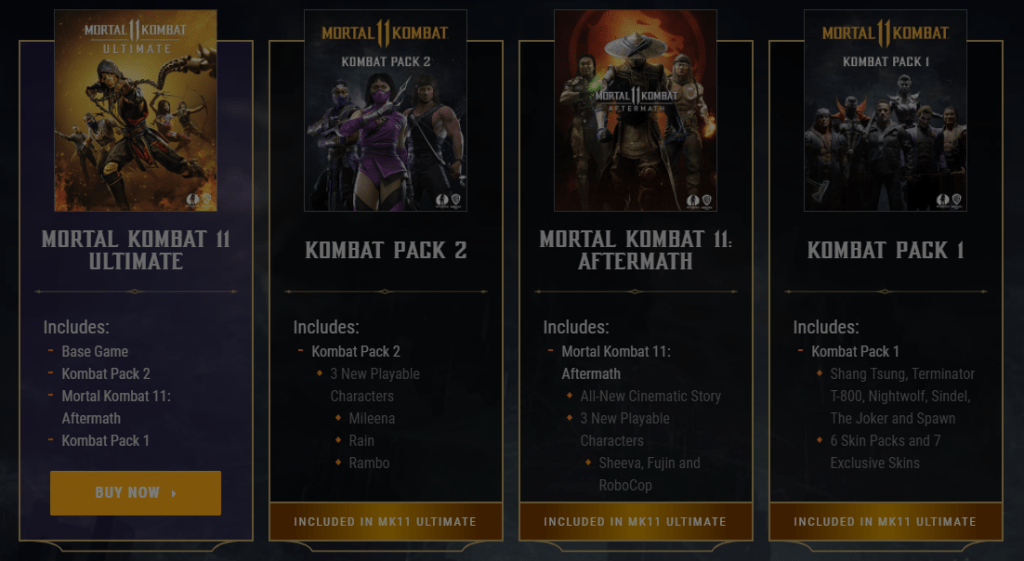 Mortal Kombat 11 Ultimate Contents from the Kombat Pack 1 and 2, and the Aftermath expansion