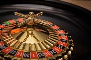 Roulette wheel at a live casino
