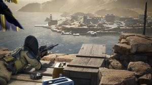 Sniper Ghost Warrior Contracts 2 artwork showing sniper on a cliff looking down on a sea port