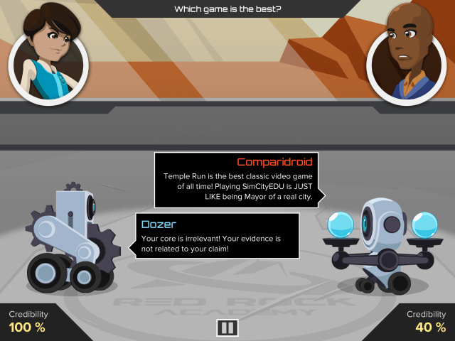 Argubot Academy gameplay showing a discussion between two chracters