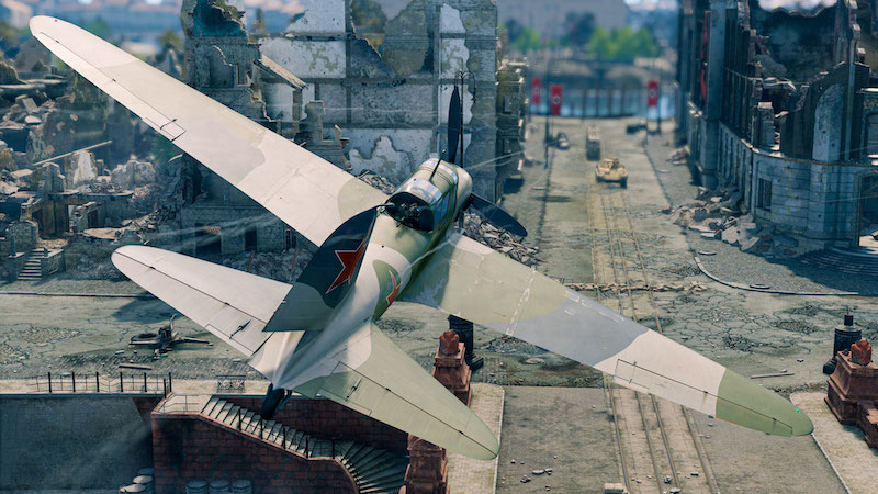 Enlisted Battle of Berlin plane flying in the sky above Berlin