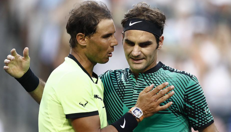 Roger Federer and Rafael Nadal after a game of tennis