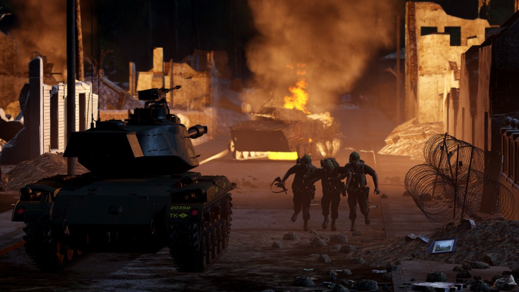 Arma 3 Creator DLC: S.O.G. Prairie Fire tank and soldiers in street lit up by flames