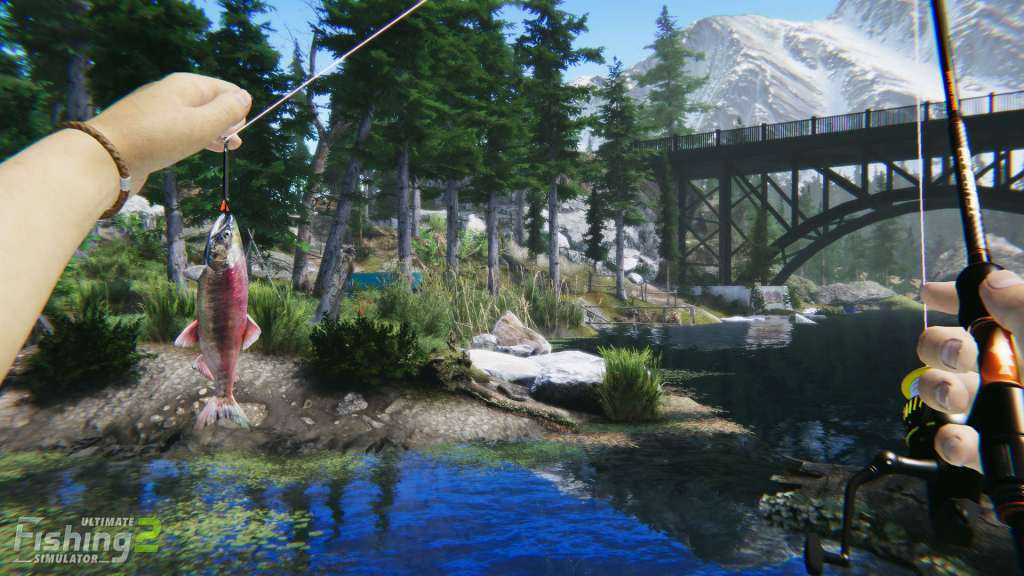 Ultimate Fishing Simulator 2 gameplay holding a fish caught on the line