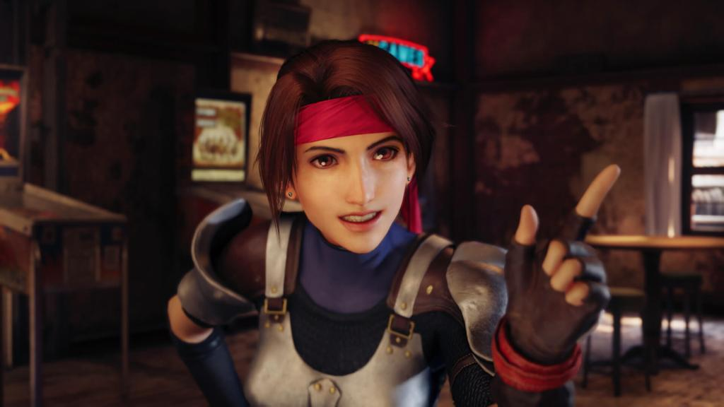 Jessie wags a finger at Cloud in FFVII Remake.