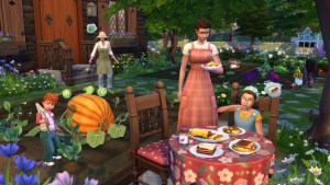 The SIms 4 Cottage Living afternoon tea