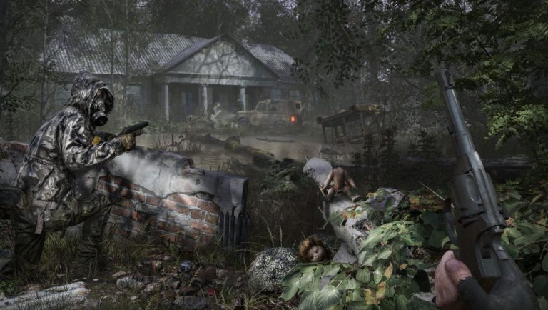 Chernobylite approaching an abandoned building with gun