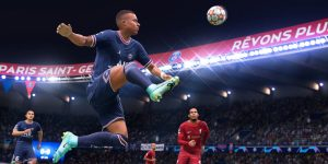 M'bappe controlling the ball vs Liverpool in FIFA 22