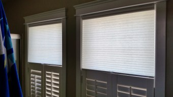 Cordless Cellular Shades over Cafe Shutters
