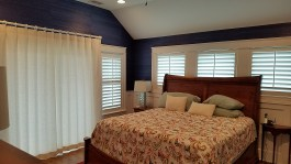 Wood Shutters and Reverse Pleat Drapes