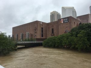 flooding under a bridge in downtown Houston after Hurricane Harvey