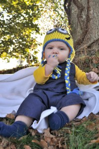 baby boy in a minion Halloween costume from Despicable Me