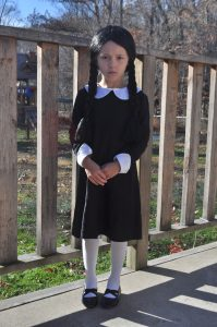 girl in Wednesday Addams Halloween costume from The Addams Family