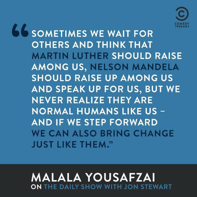 quote by Malala Yousefzai that says sometimes we wait for others and think that martin luther should raise among us, nelson mandela should raise up among us and speak up for us, but we never realize they are normal humans like us - and if we step forward we can also bring change just like them