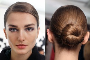 low bun and side part