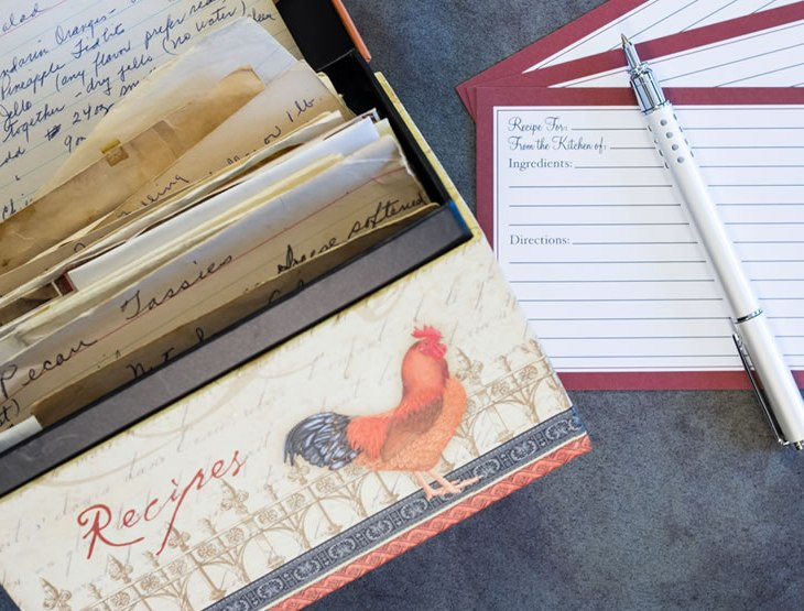 Recipe cards and box