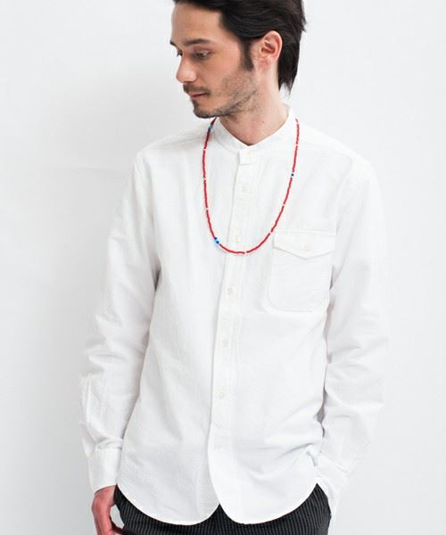 green label relaxing MENS OX BAND/C H/PLACKET シャツ