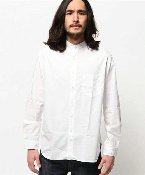URBAN RESEARCH MENS UR COTTON BAND COLLAR SHIRT