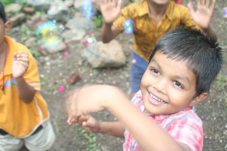 Children at a church in rural Gujarat