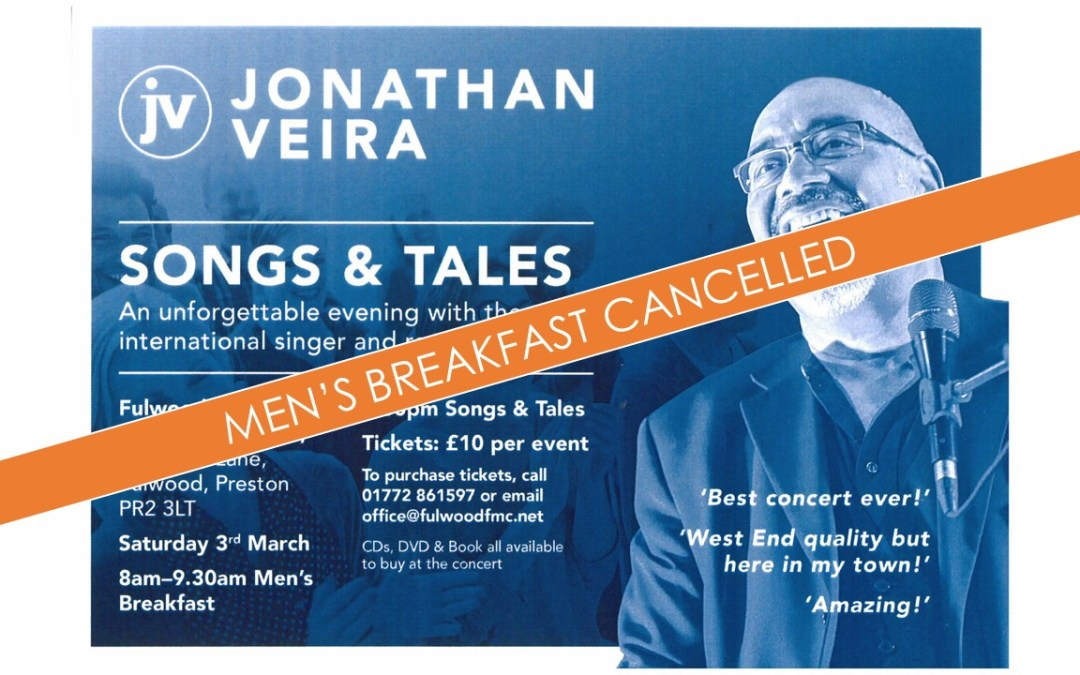 **Cancelled** Men's Breakfast with Jonathan Veira **Cancelled**