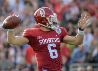 Baker Mayfield, quarterback da universidade de Oklahoma