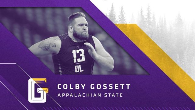 Guard Colby Gossett, Appalachian State, escolha do Vikings