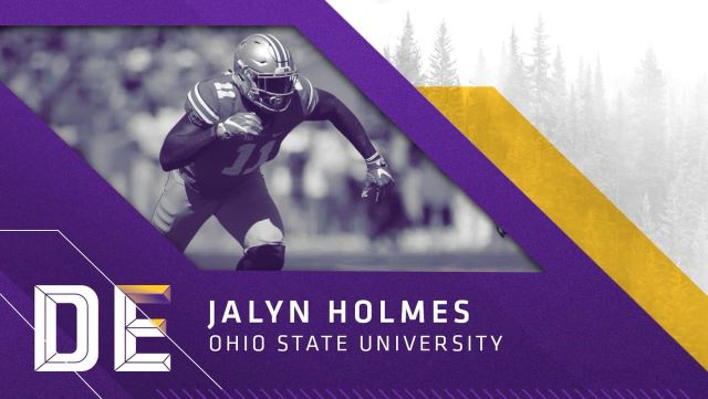 Defensive End Jaylin Holmes, Ohio State, escolha do Vikings